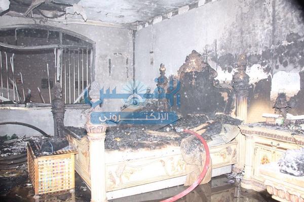 فرق الإطفاء تخمد حريق منزل بالقادسية