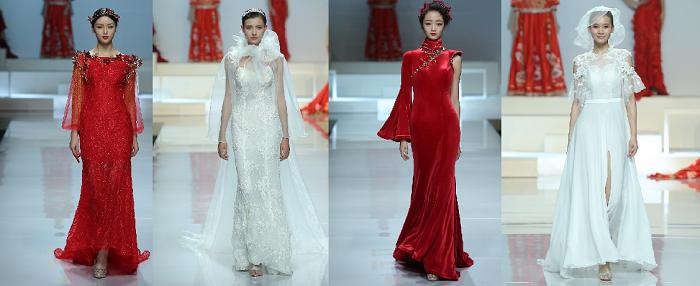 سطوة الأحمر وسحر الأبيض في فساتين الزفاف والسهرة