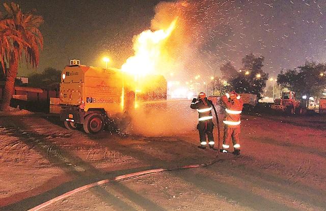 إصابة 3 أشخاص في حريق بناية