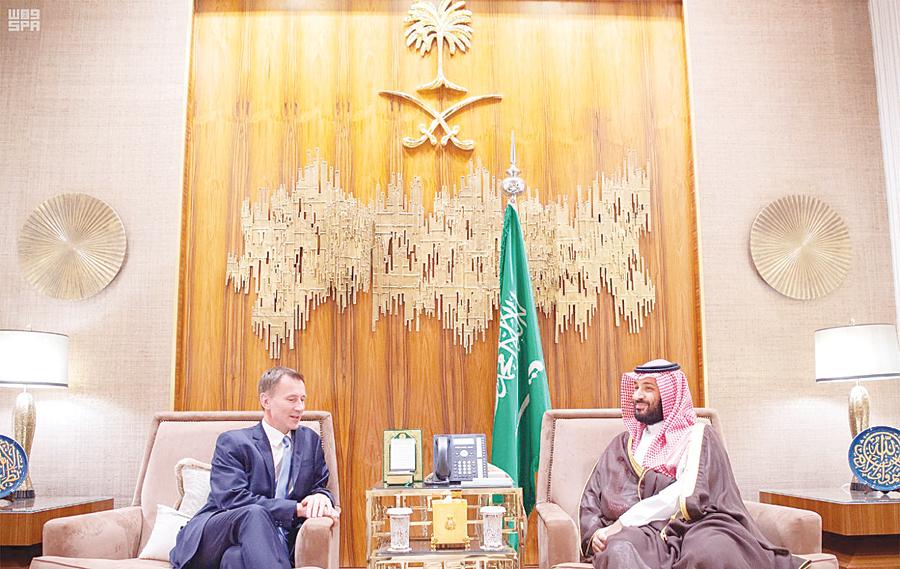 محمد بن سلمان خلال استقباله وزير الخارجية البريطاني أول من أمس | واس