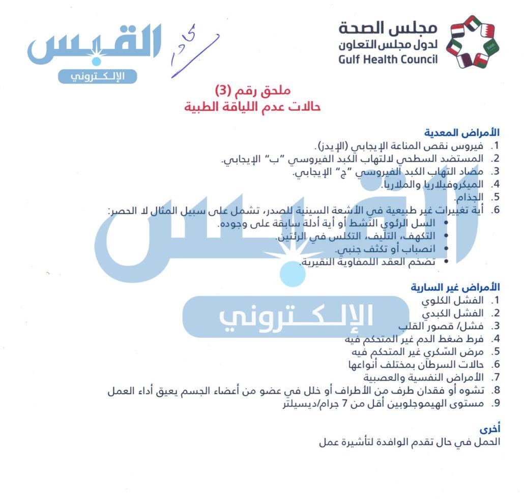 حالات عدم اللياقة الطبية   الممنوعة من دخول الكويت
